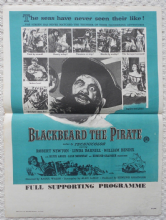 "Blackbeard the Pirate, Original English 20"" x 15"" Adv Herald, Linda Darnell, '52"
